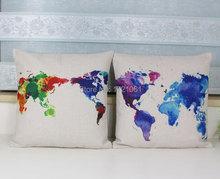 Colorful World Map Cushion