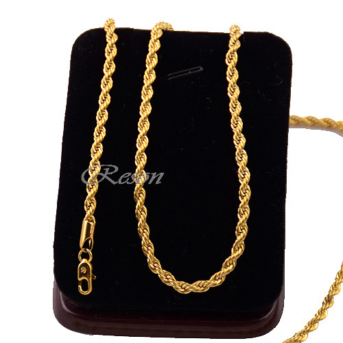 1pcs Mens Women Unisex 18K Yellow Gold Filled Rope Chain Necklace E111(China (Mainland))