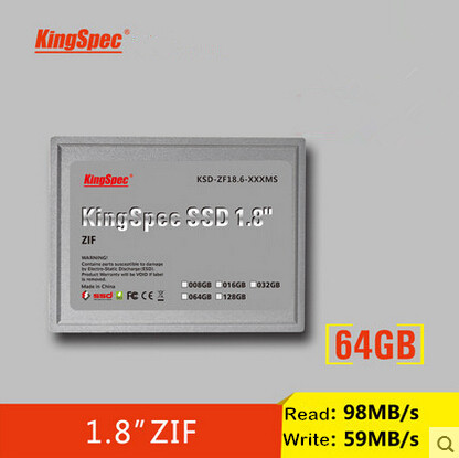 """KSD-ZF18.6-064MS Kingspec 1.8"""" ssd ATA7 ZIF SSD 64GB 64 Solid State Drive SSD Hard Drive For SONY For DELL For HP Free Shipping(China (Mainland))"""