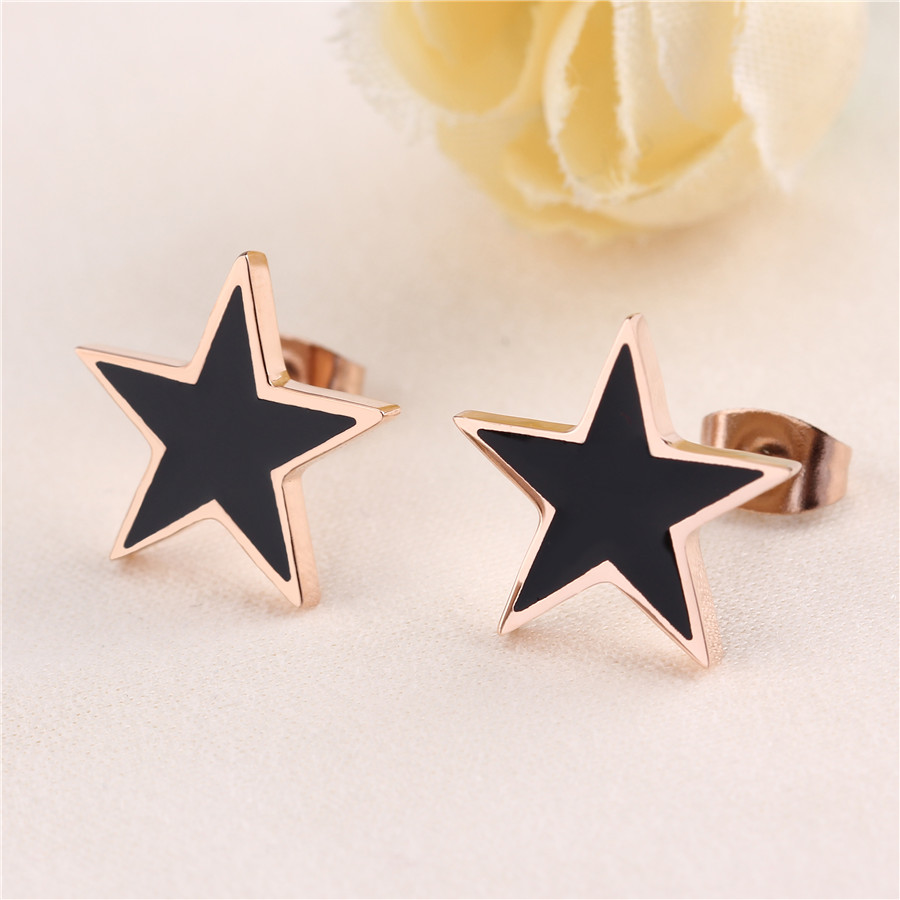 Hot Trendy Pink Five Star Stud Earrings For Women Stainless Steel Rose Gold Plated Black Enamel Small Lady Accessories Best Gift(China (Mainland))