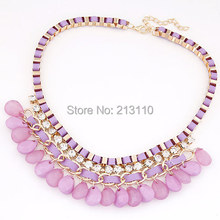 2016 Fashion Exaggerated Women Bohemian Necklace Rope Chain Rhinestone Necklace & Pendants Women Accessories Necklace(China (Mainland))