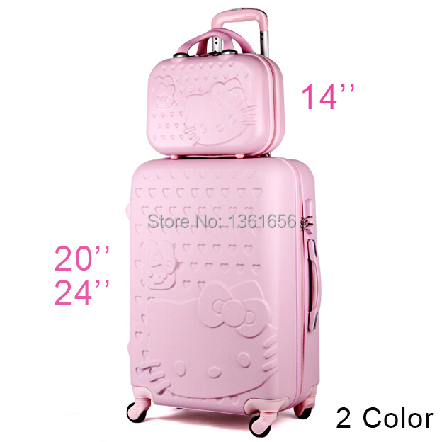 20,24 inch Hello Kitty Suitcase Set,Travel Bag Set,Spinner Rolling Luggage, Hardside Luggage,ABS,Cartoon,CA003(China (Mainland))