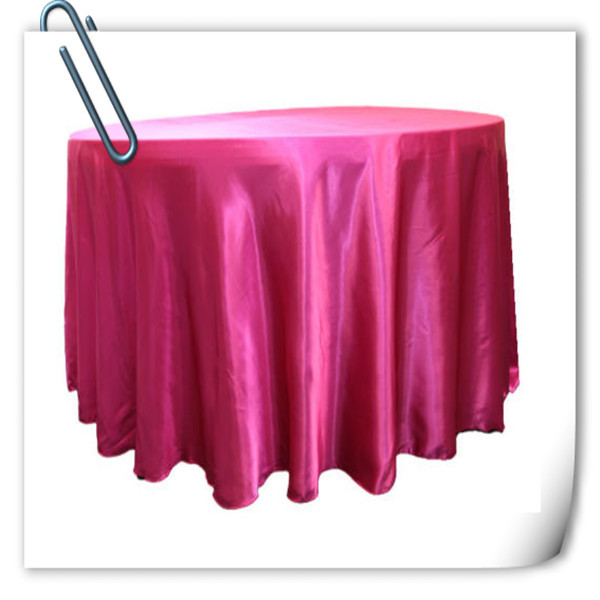 Hot Sale !!! Fushia 90inch 10pcs Satin table cloth for weddings parties hotels restaurant Free Shipping(China (Mainland))