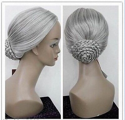 new womens Gray white cosplay full wig