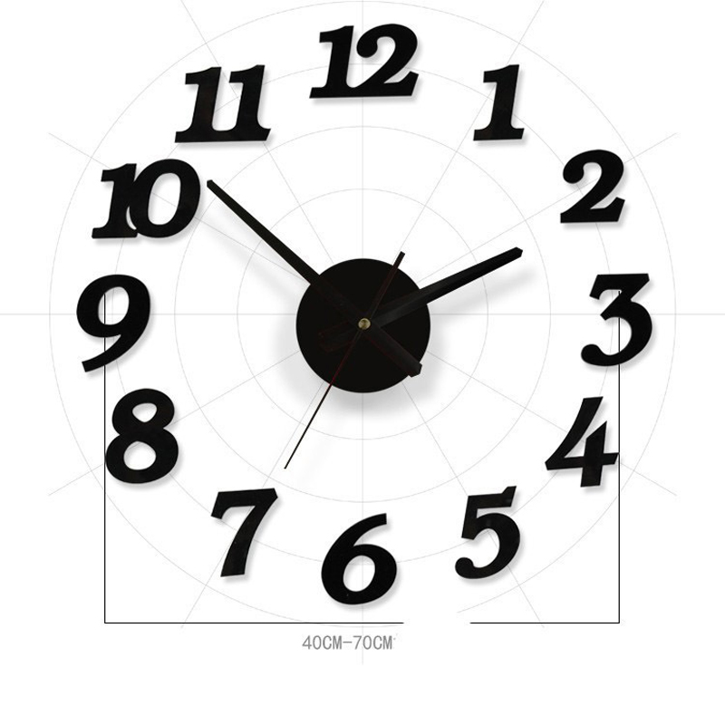 3D Black DIY Wall Clock Circular Mirror Clock For Room Bedroom Kitchen Wall Stickers Modern Design Home Decor on the wall(China (Mainland))