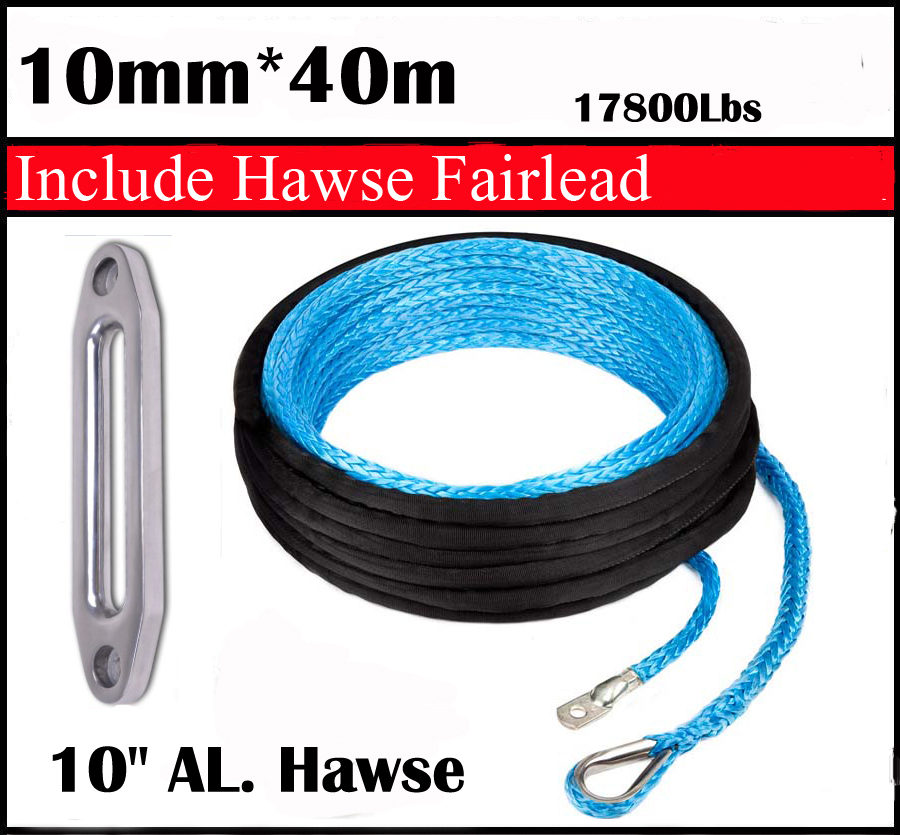 "New Strong 100% UHMWPE Synthetic Winch Cable/Rope 10MM*40Meter w/t+10"" Al. Hawse for 4WD/ATV/UTV/SUV Winch Use////free shipping"