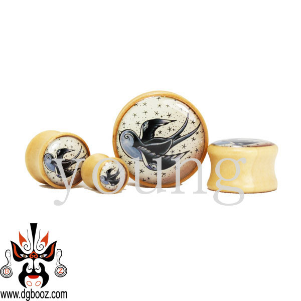 fashion picture wood ear plug tunnel piercing body jewelry 8-25mm  WE-3110<br>