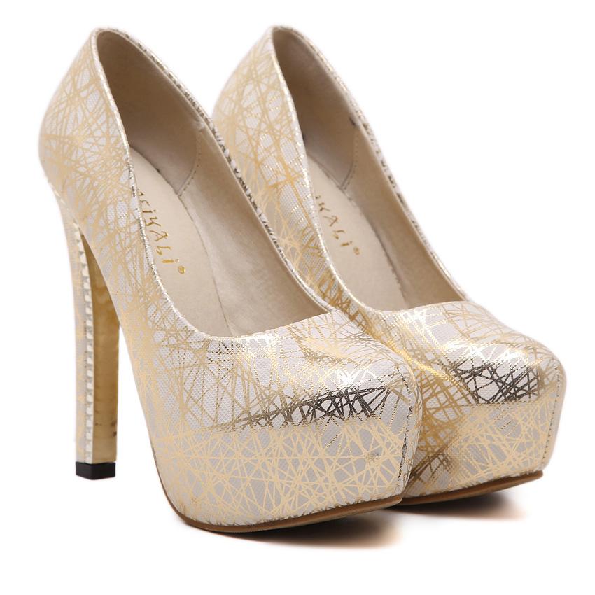 2016 Sexy High Heels Platform Shoes Pumps Women's Dress Fashion Wedding Lady Pump Gold Silver(China (Mainland))