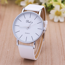 1pcs/lot High Quality Classic Dalas Brand Leather Silver Steel Strap Watches Women Dress Watch Ladies Quartz Watch Black White