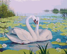 No Frame DIY Painting By Numbers Kits Paint On Canvas Painitng By Numbers Wall Decor Lotus pond swans interior renovation(China (Mainland))