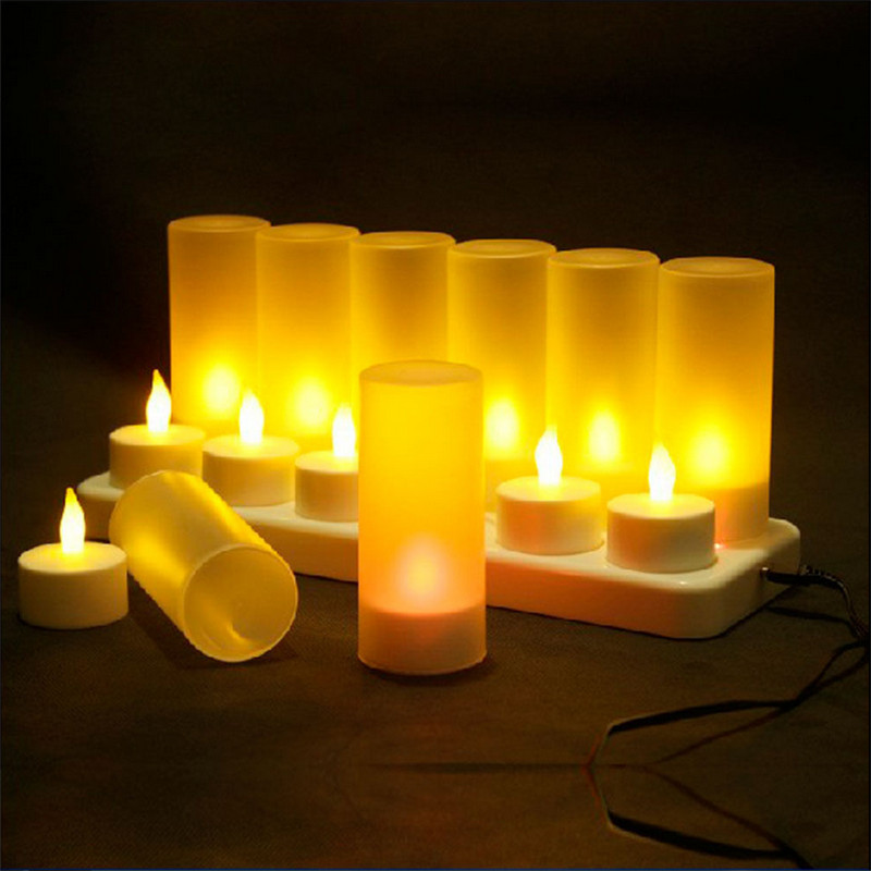 Christmas Led Candles Rechargeable Tealight Yellow Light Candle Lamp LED Party Candles and Holders/chandelle mariage(China (Mainland))