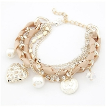 S148 Lovely hollow out heart the coin simulated pearl multielement weave multilayer bracelet women's bracelets & bangles(China (Mainland))