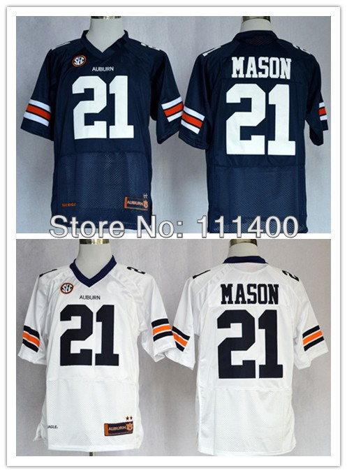New Good Quality Hot Sale College Auburn Tigers Tre Mason 21 Blue White College Football Jerseys Navy Blue embroidery Logo(China (Mainland))
