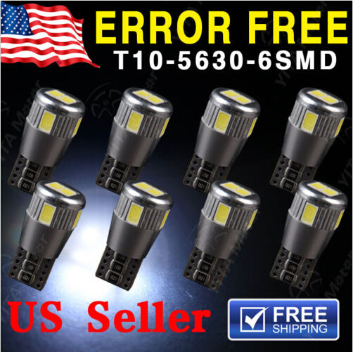 Hot Selling 10pcs Canbus Error Free White T10 5630 6SMD Wedge LED Light bulbs W5W 194 168 921 Interior Car Styling Led Cars(China (Mainland))