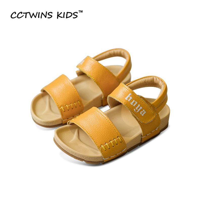 CCTWINS KIDS 2017 Summer Boy Sandals Children Fashion Toddler Genuine Leather White Flat Baby Girl Brand Beach Black Shoe B682(China (Mainland))