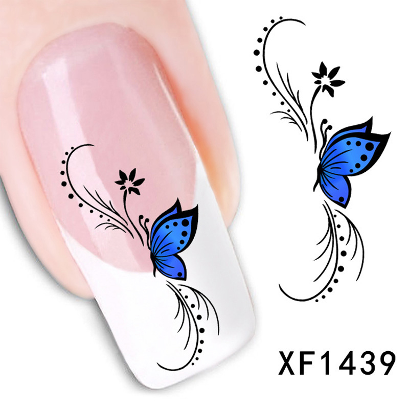 1pcs 2016 Blue Style Tip Nail Art Water Transfer Nail Sticker Nail Water Decal Manicure Mix Color Nail Tools Beauty(China (Mainland))