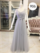 Beauty Emily Tulle Gray Sleeveless Long Evening Dresses 2017 Ruffles A line Formal Party Prom Gowns vestido de festa(China)
