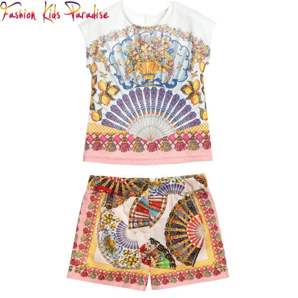Children Clothing Set Fan Print 2015 Summer Style Girls Clothing Sets Kids Clothes Brand Girls Summer Sets Baby Girls Clothes(China (Mainland))
