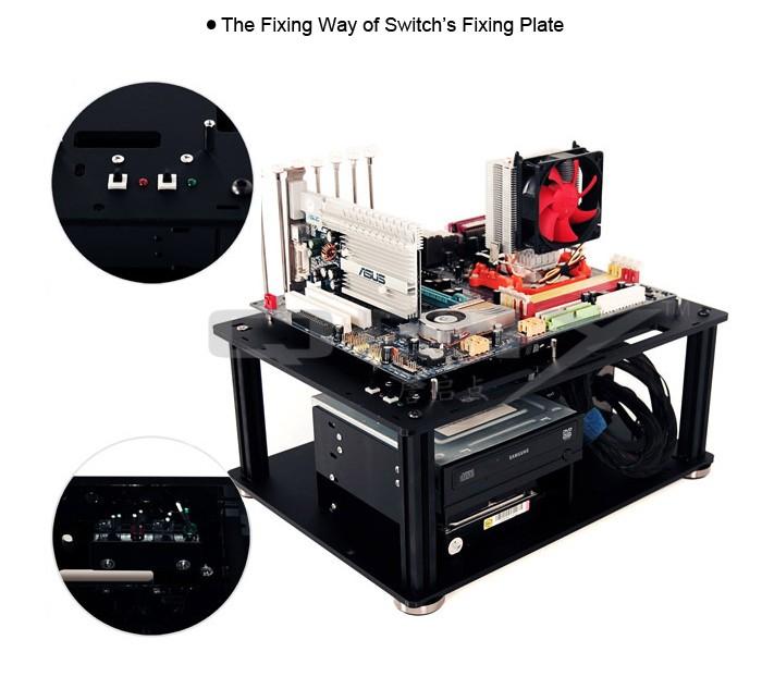 QDIY PC-D008L PMMA EATX Motherboard Acrylic Bare Computer Case