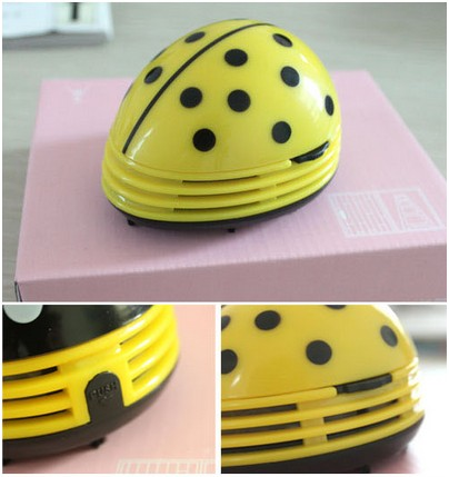 Electric Table Vacuum Cleaner Mini Dust Cleaner Yellow Beetles Prints Design(China (Mainland))