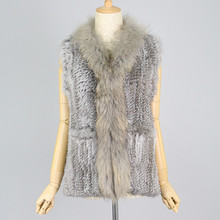 Women real Knitted chinchilla Rabbit Fur Vest GILET Raccoon Dog collar winter girls fashion coat - Genuine Fashion store