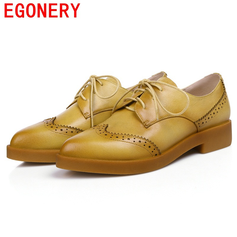 2015 new causal oxford shoes for women green yellow genuine leather womens oxfords laced up leather shoes EGONERY 34-41 Femal<br><br>Aliexpress