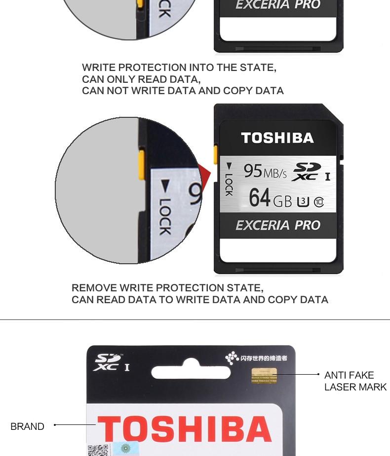 ถูก Toshibaการ์ดหน่วยความจำuhs u3 128กิกะไบต์95เมกะไบต์/วินาทีsdxc 64กิกะไบต์sd 4พันบัตร32กิกะไบต์SDHC Flash memory EXCERIA PROกล้องดิจิตอลSLRกล้องวีดีโอDV