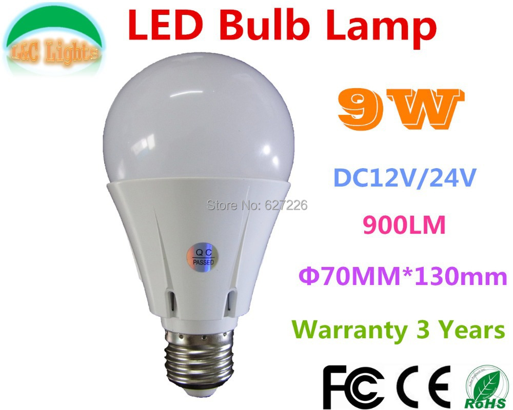 E27 9W 900LM LED Bulbs,Solar 12V Home Lighting,CE RoHS Life 35000H Warranty 3 Years,WW/NW/CW,4PCs a lot(China (Mainland))