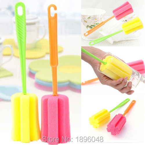 Cleaning Tool Kitchen Sponge Brush Bottle Cup Glass Washing Cleaner Random(China (Mainland))