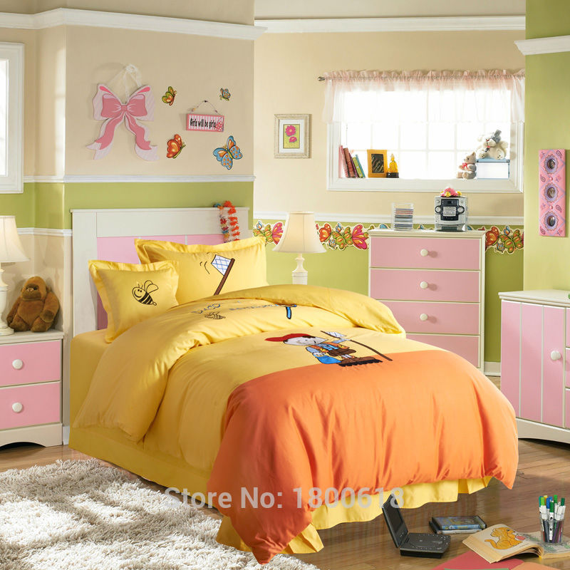 Playful Teenager High Quality Kid 4Pcs Comfort Set Round Corner Bed Sheet Child Cheap Bedding Sets Cotton Reactive Printing(China (Mainland))