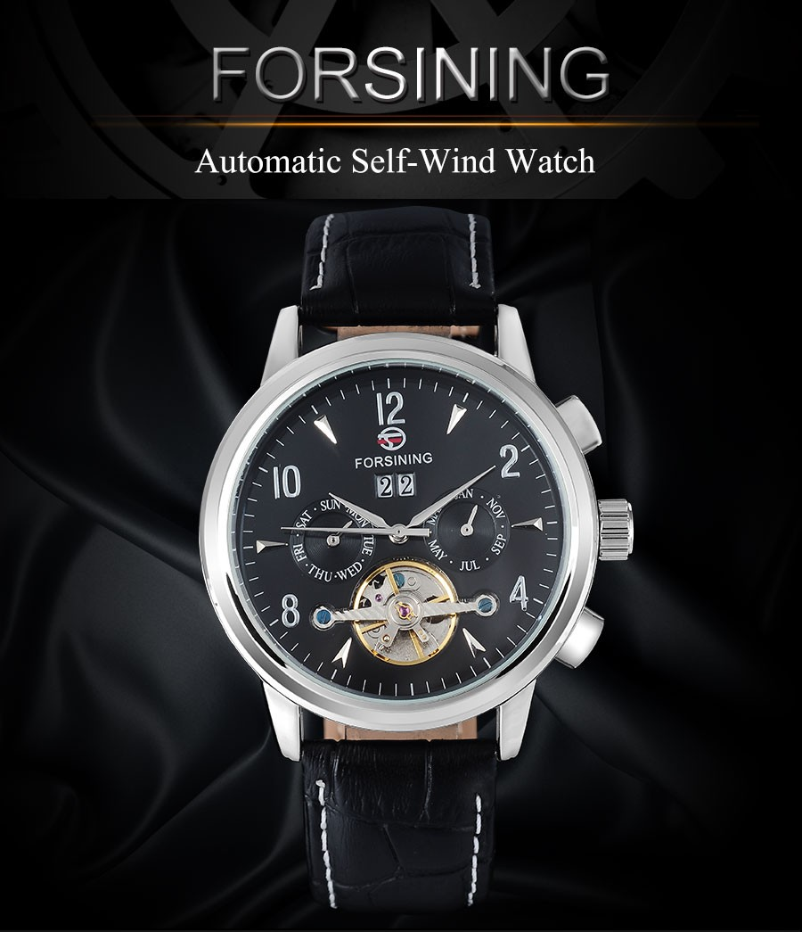 FORSINING марка моды для мужчин механические часы с турбийоном geneine кожаный ремешок роскошный горячий мужская автоматическая скелет наручные часы