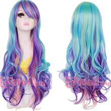 Free Shipping 80cm Purple Blue Wavy Rainbow Synthetic Long Colorful Wig Cosplay Natural(China (Mainland))