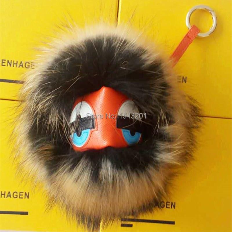 100% Real Genuine Furs Keychain Pendant Bag Bug Fur Monster Keychain Keyring Car Charm Tag Fur Pom Pom Bag Accessories Fur Balls