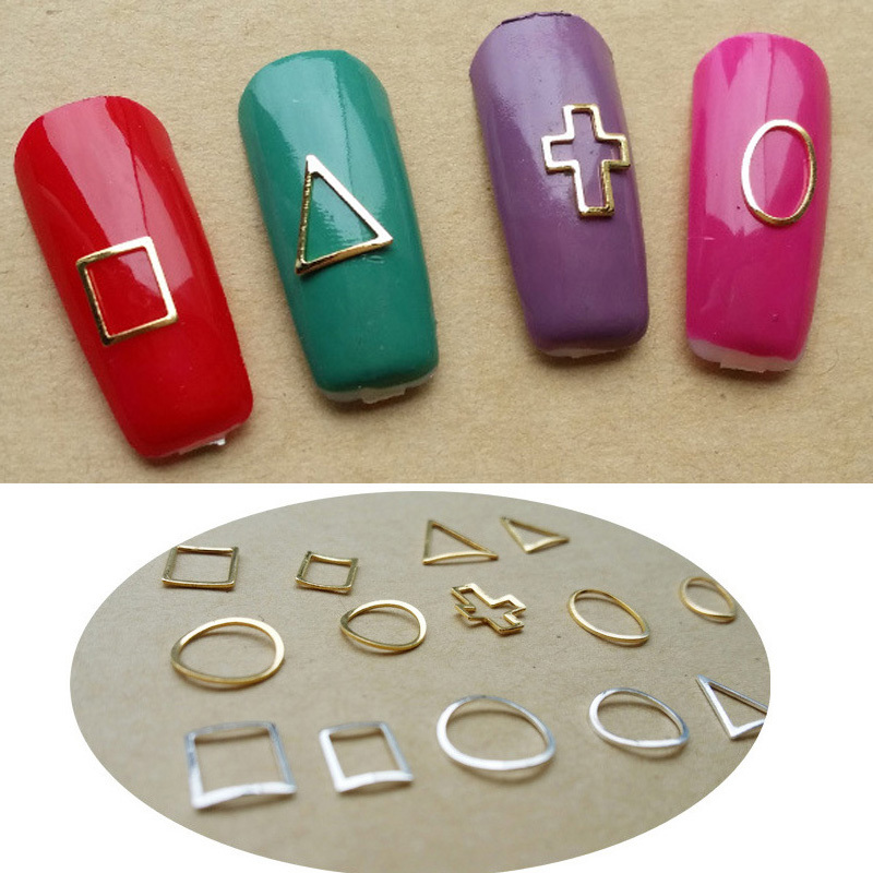 Silver Gold Color Inlay Gem Rhinestone Metal Nail Decoration Frame 9 Style Fix Jewel Manicures Accesorry Shelf For Nail 12pcs(China (Mainland))