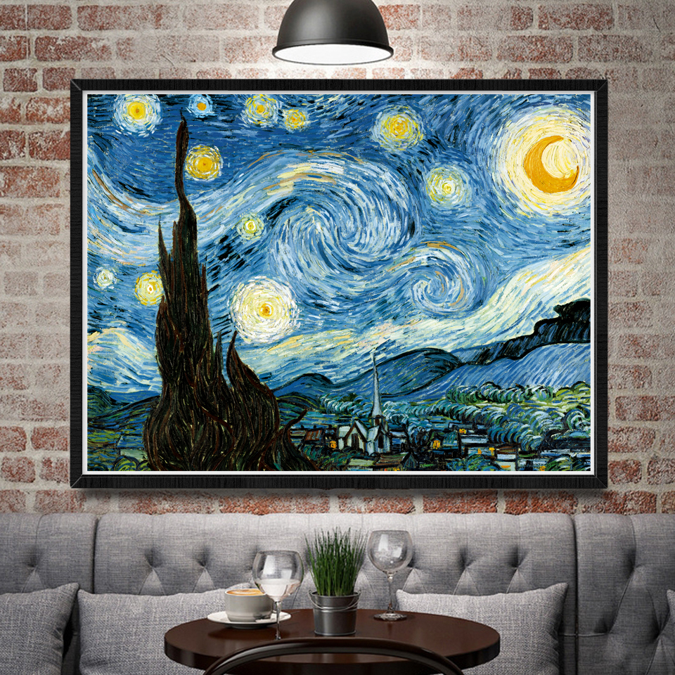 vincent van gogh starry night classy art silk poster home decor oil painting 12x16 18x24 24x32 30x40 inch no frame free shipping