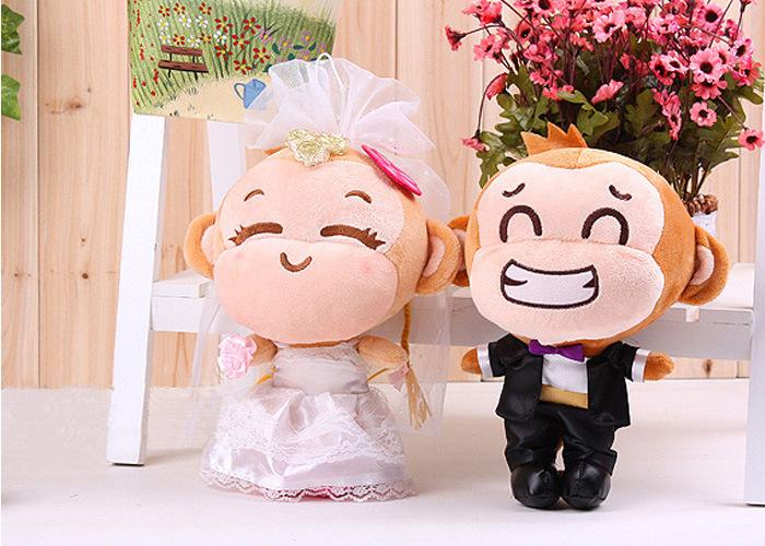 STuffed toy cartoon couples monkeys plush toy soft wedding monkeys Toy ,proposal, wedding gift w9552(China (Mainland))