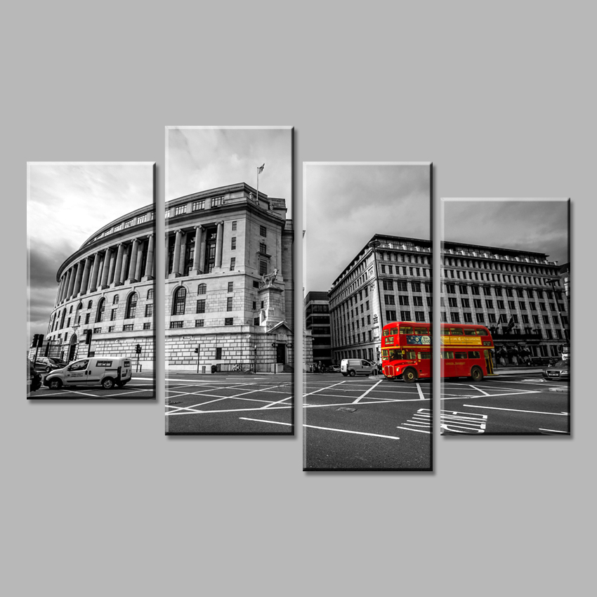 4 Piece Modern wall Painting Black and white city scenery red bus Art Print on Canvas Wall Pictures For Living room Home decor(China (Mainland))