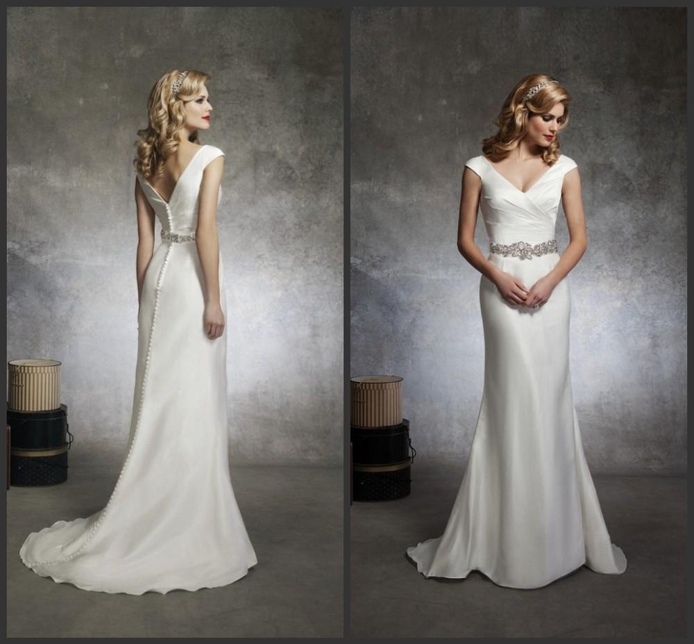 Elegant Cap Sleeve Mermaid Satin Wedding Dresses Hot
