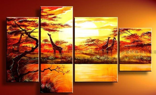 hand-painted wall art oil painting Wall Art African grassland deer Modern Landscape abstract canvas 4pcst - Fraz & YX Studio store
