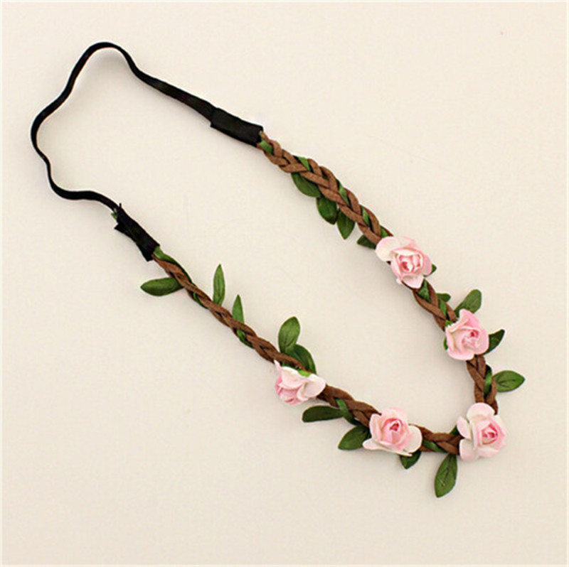 2016 Hot tiara Hair Accessories lightpink tiara For Women Bridal Bohemia Beach Flower Hair bands Jewelry accesorio para(China (Mainland))