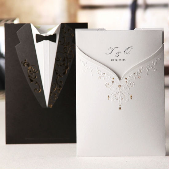 Classic White Bride Black Groom Wedding Invitations Cards, Professional Customized Printing! - Li Na store