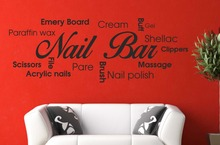 Nail Bar Collage Vinyl Wall Decal Picture Quote Sticker Hair Beauty Salon Manicure Wall Sticker Nail Shop Window Glass Decor