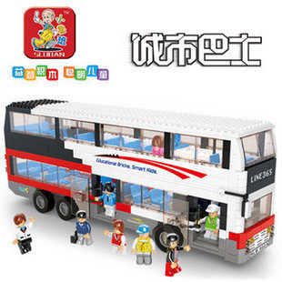 SLUBAN City Bus Series Luxury Double Decker Building Blocks Children DIY Car Toys ABS Bricks Passengers Best Gift