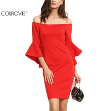 Buy COLROVIE Red Women Dresses Ruffle Sleeve Shoulder Summer Dress Bodycon Sheath Dress Ladies Club Wear Mini Dress for $12.69 in AliExpress store