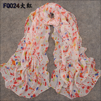 Free Shipping! Min. Order is 10USD(Can Mixed Order)    Fashion Spring And Summer Super Smooth Long Faux Silk Chiffon Scarf