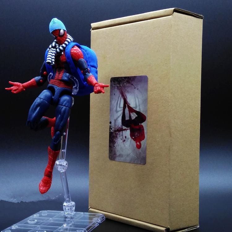 1pcs Amazing Spider-Man Blue Bags Scarf Hat Captain America3 Marvel Avengers PVC 15cm Collectible Action Figure Super Movable(China (Mainland))