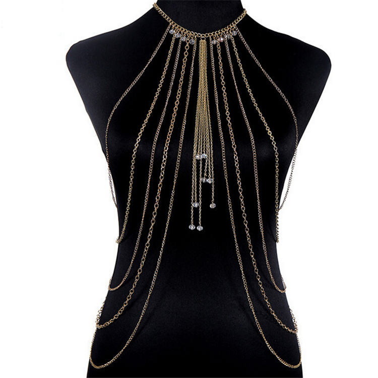 2015 New Fashion punk Jewelry Elegant Multilayer Gold plate chain body rhinestone drop Tassel Body Chain Long Necklace For Women(China (Mainland))