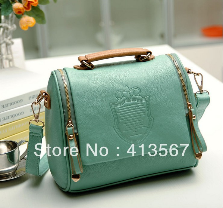 2015 Double Crown Design Women Messenger Bags Vintage Shoulder Bags PU Leather Handbag Small Bag With Print Free Shipping(China (Mainland))