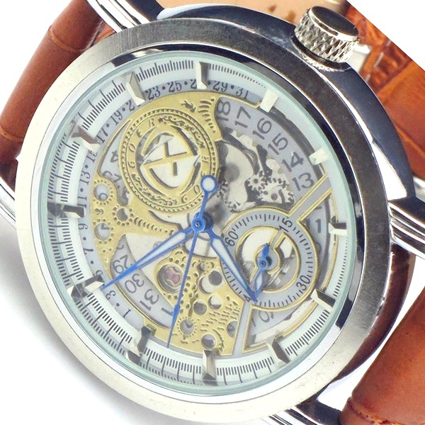 HK Post Or SG Post Men Automatic Date Skeleton Mechanical Wrist Watch Brown Leather Gift(China (Mainland))