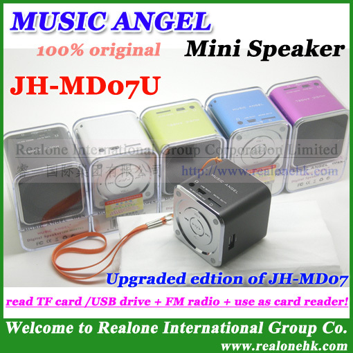 4pcs Free Shipping 100% original MUSIC ANGEL Mini Speaker JH-MD07U newest speaker read TF card/USB+FM radio+as card reader(China (Mainland))
